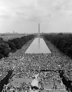 """Hundreds of thousands descended on Washington, D.C.'s, Lincoln Memorial Aug. 28, 1963. It was from the steps of the memorial that King delivered his famous I Have a Dream speech. King's many speeches and nonviolent actions were instrumental in shaping the nation's outlook on equality."" By ""US Government Photo"" [Public domain], via Wikimedia Commons https://upload.wikimedia.org/wikipedia/commons/c/cd/IhaveadreamMarines.jpg"