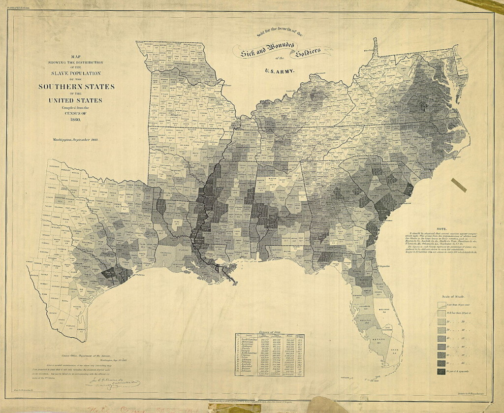 Map Showing the Distribution of the Slave Population of the Southern States of the United States Compiled from the Census of 1860. Sold for the benefit of the Sick and Wounded Soldiers of the U. S. Army. By E. Hergesheimer (cartographer), Th. Leonhardt (engraver) [Public domain], via Wikimedia Commons https://commons.wikimedia.org/wiki/File%3ASlavePopulationUS1860.jpg