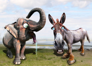 """Democratic Donkey & Republican Elephant"" by DonkeyHotel, flickr (CC BY 2.0) https://creativecommons.org/licenses/by/2.0/"