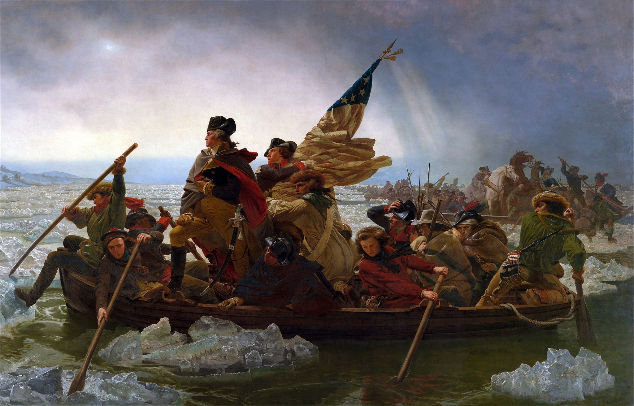 """Washington Crossing the Delaware"" (1851) by Emanuel Leutze [Public domain or Public domain], via Wikimedia Commons"